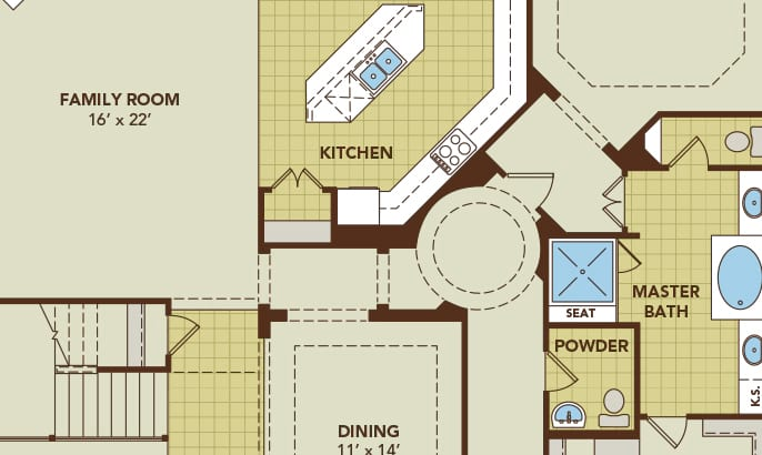 Blueprint of an open floorplan Gehan Home with large kitchen & dining room with his & her's sinks